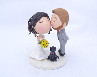 Cute couple kiss with pet dog Wedding cake topper. Wedding figurine. Handmade. Fully customizable. Unique keepsake