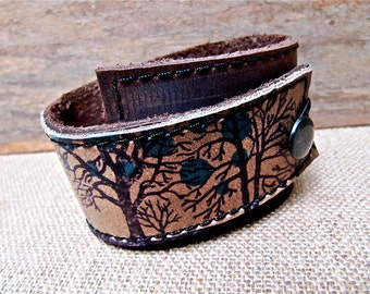 Leather Cuff Bracelet Wrap, Tree Silhouette Print in Brown & Olive Taupe, Adjustable Size * SALE * Coupon Codes