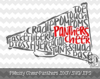 Messy Panthers Cheer design INSTANT DOWNLOAD in dxf/svg/eps for use with programs such as Silhouette Studio and Cricut Design Space