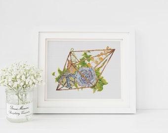 Succulent Terrarium Minimalist cross stitch pattern PDF 10