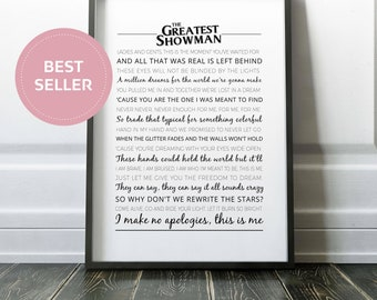 The Greatest Showman Poster | Typography | The Greatest Showman Print | Greatest Showman | This Is Me Song Lyrics | Wall Art | Home Decor