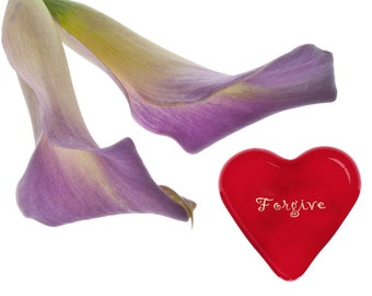 "On Sale! Red Glass Heart of Renewal Forgiveness Expression Inspiration 1.5x1.5x.5"" 1.6oz"