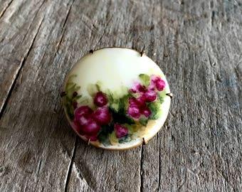Vintage Rose Hand Painted Porcelain Brooch | Roses Design Porcelain Pin with Brass Back