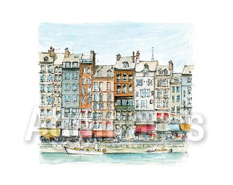 Honfleur Normandy France / art print from an original watercolor painting