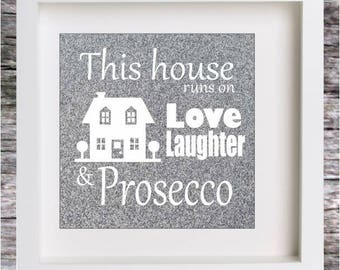 Vinyl Decal BOX FRAME Window Glass Prosecco DIY Gift (Frame Not Included)