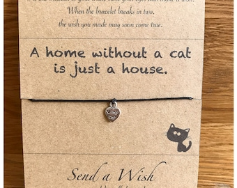 Kittens and cats, Cats gifts, Cat lovers, Pets owners, Make a wish bracelet, Fur babies, Paws, I love animals,  greeting card, ecofriendly