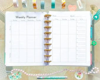 Weekly Planner Happy Planner PRINTABLE Inserts Printable PDF Undated Organizer To Do list Mambi Inserts Made to Fit Erin Condren Planner