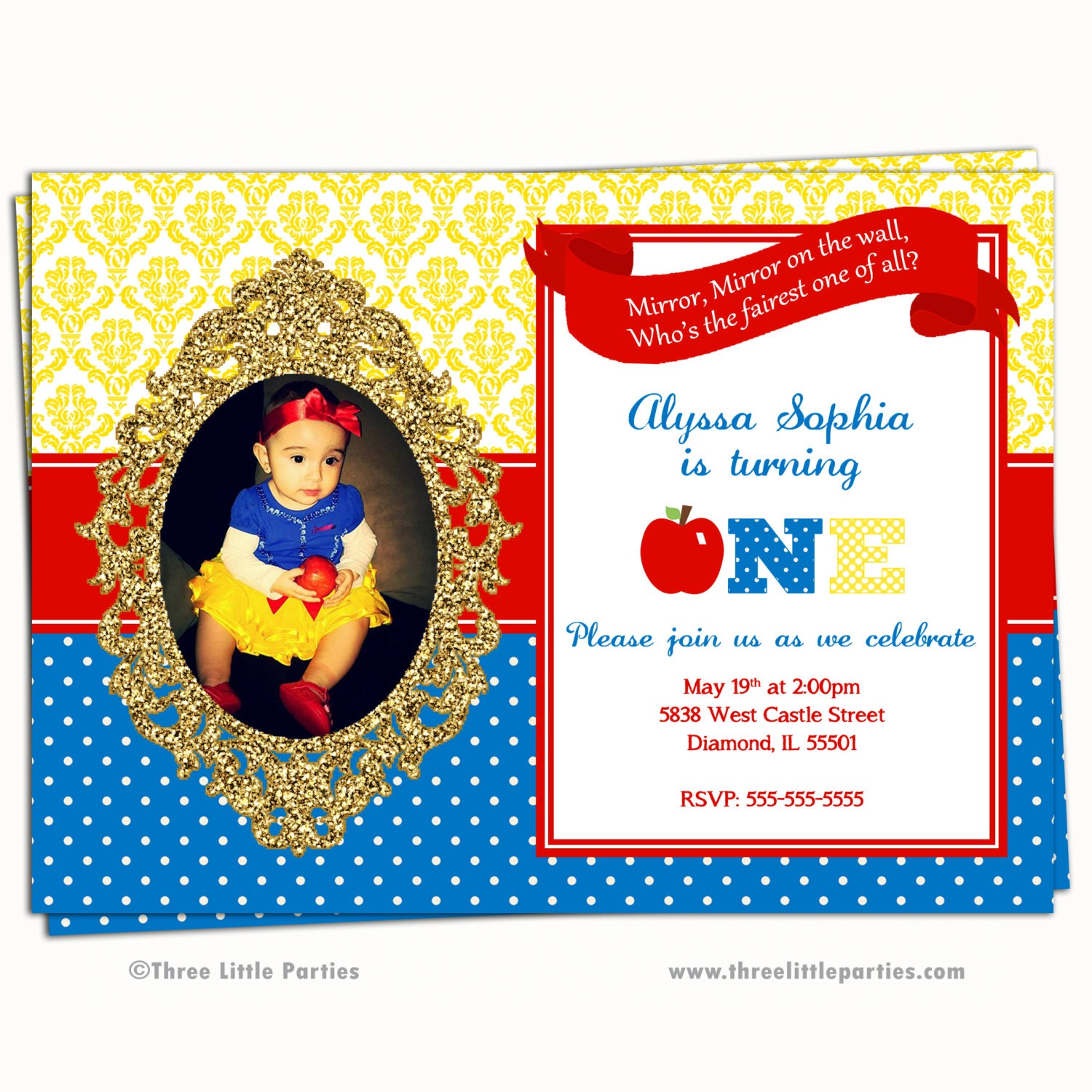 Bewitching image with snow white invitations printable