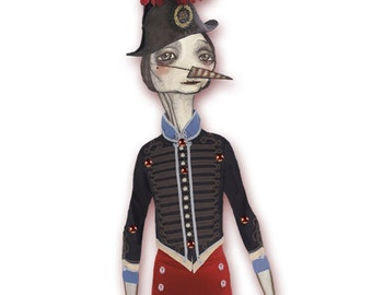 Napolonia - articulated PAPER DOLL -16.7  x 14.2 in - paper toy doll drawing circus carnival freak suitcase lady doll red stripes