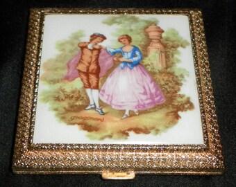"Vintage Limoges Fragonard ""Love Story"" Powder / Makeup Compact w/ Mirror - Switzerland"