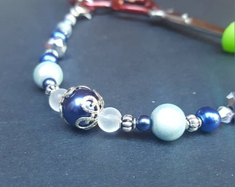 Beaded Scissor Fob, Blue and Silver Glass Beads with Point Protector