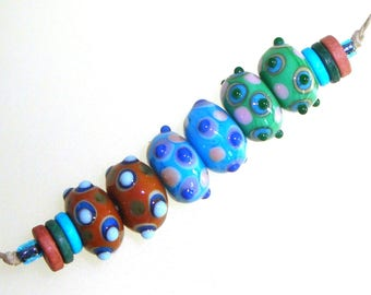 Handmade Lampwork Glass Beads - 3 pairs. Stacked raised dots on russet, turquoise, green. Earring pairs, jewelry supplies.