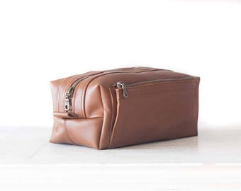 Brown leather travel case, storage organizer accessory toiletry case groomsman gift shaving kit case - Skiron travel case