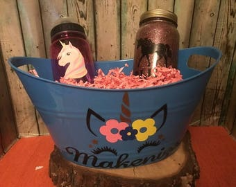 Unicorn Gift Basket, Unicorn Easter Basket, Custom Gift Basket, Unicorn Gift Set, Personalized, Unicorn, Nightlight, Unicorn Water Bottle