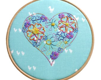 Embroidery Pattern Beginner | Flowers Embroidery Designs | Floral Hoop Art | Modern Embroidery Pattern  | Hand Embroidery Kit | DIY Hoop Art