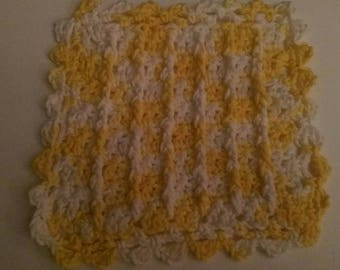 Fancy Crochet Yellow and White Dishcloth with Texture