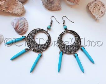 Tribal Earrings, Bohemian Earrings, Turquoise Ethnic Earrings, Bronze Pagan Earrings, Boho Gypsy Dangle Wicca Hoops, Statement Earrings