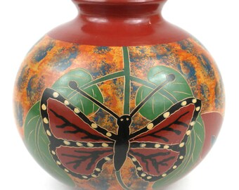 Small Ceramic Vase, Butterfly Vase Ceramic, Hand Paint Vase, Decorative Vase, Ceramic and Pottery clay vase, Irregular Flower Vase,