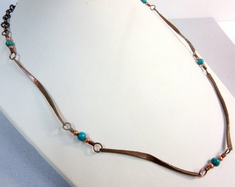 Turquoise Necklace, Hammered Copper Sticks Jewelry, Twisted Copper Sticks Necklace, Turquoise Jewelry, Southwestern Jewelry, Copper Bones