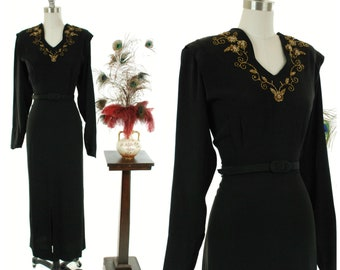 Vintage 1940s Dress - Jet Black Rayon 40s Evening Gown with Dolman Sleeves and Beaded Neckline by DuBarry