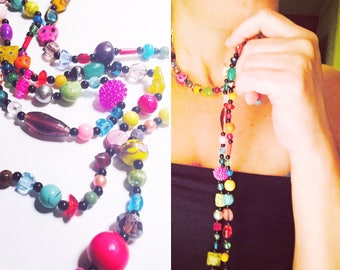 Necklace - Beaded - Colorful - Skulls - Halloween - Day of the Dead - Bright - Wrap-able for Fall