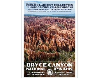 "Bryce Canyon National Park WPA style poster. 13"" x 19"" Original artwork, signed by the artist - Free Shipping!"