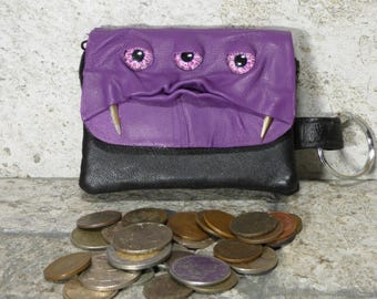 Zippered Coin Purse Purple Black Leather Change Purse Monster Face Pouch Key Ring Harry Potter Labyrinth 37