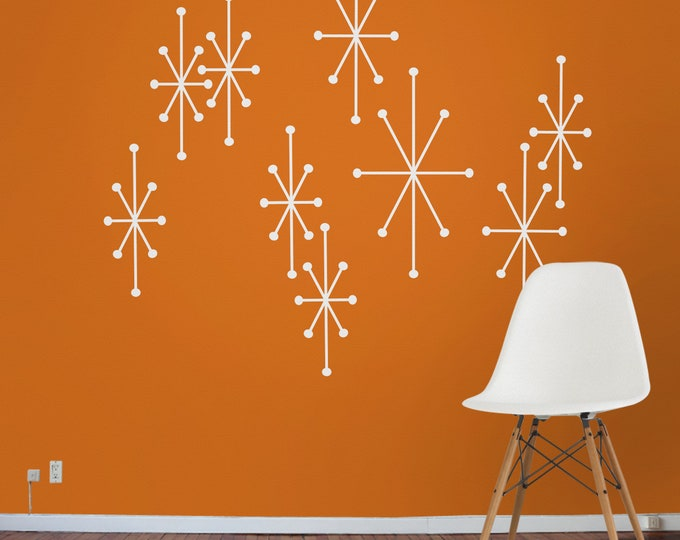 atomic starbursts wall decals, mid century modern stars, mcm atomic stars, 50s design, retro art, vintage wall art