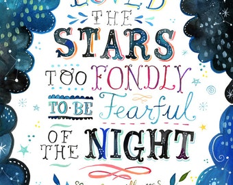 Loved The Stars Art Print  | Watercolor Quote | Inspirational Print | Lettering | Celestial Wall Art | Katie Daisy