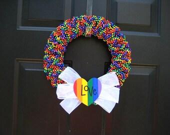 Rainbow Gay Pride Love Beaded Wreath