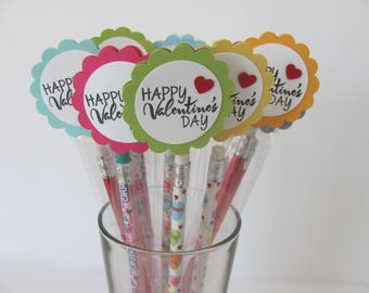 Kids Valentine Pencil Favors, Valentines Day Party Favors, Kids Valentine Favors, Pencil Valentine, Personalized Valentines, Kids Valentines