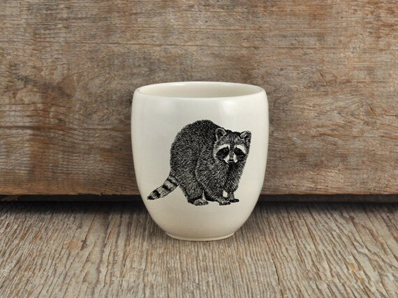Handmade Porcelain coffee tumbler with raccoon drawing Canadian Wildlife collection