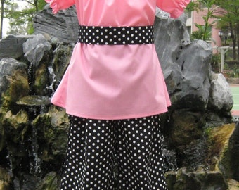 Girl Pink and Black Outfit, Peasant Top And Pant Set, Girl Polka Dots Ruffle Pant, Pink Peasant Top, Toddler Pink Outfit, Birthday Outfit