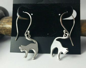 Cat Charm Earrings - Sterling Silver Plated Dangle