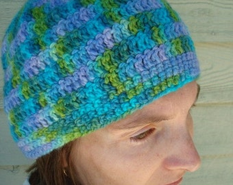 Soft Wool Beanie Hat Hand Dyed in Beautiful Shades - Meadow 185C