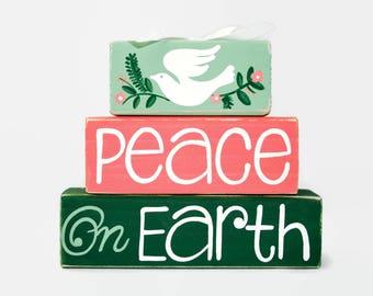 Peace On Earth Christmas Decor WoodenBlock Dove Inspirational Gift Office Desk Home Decor