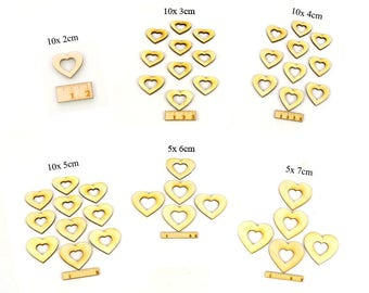 Hearts with heart neckline made of wooden set with different sizes-wedding birthday Festive celebrations decoration