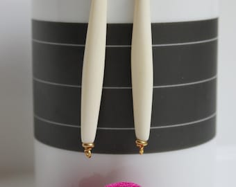 White Bone Earrings - Ethnic Collection - Bone Jewelry - Short - Gold or Silver