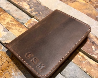 Personalized Bifold Leather Wallet, Minimalist Leather Wallet, Distressed Leather, Father's Day