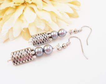 Grey Pearl Earrings, Boho Bridal Earrings, Mother of the Bride Gift Beaded Dangle Earrings Sterling Silver Earring, Bridesmaids Gift for Her