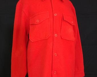 Vintage Red Wool Pioneer Wool Union Made Shirt Jacket/1960's/70's Red Wool Flannel Cruiser, Mackinaw