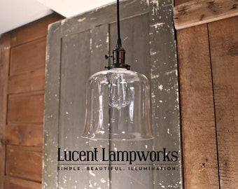 Flared Open Clear Shade Pendant Fixture - 8 Inch