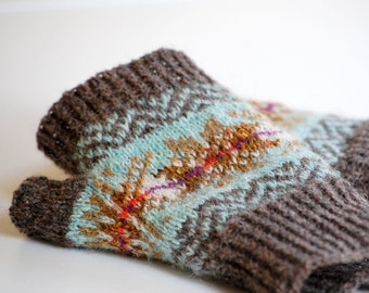 Knitting Pattern Bracken Mitts Fair Isle Fingerless Gloves PDF Instant Digital Download