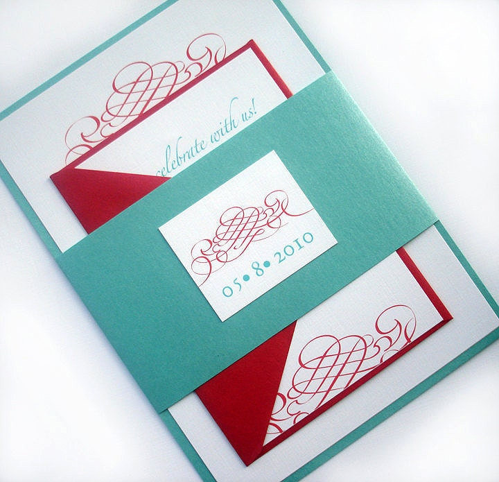 Aqua and red Wedding invitation set Elegant wedding