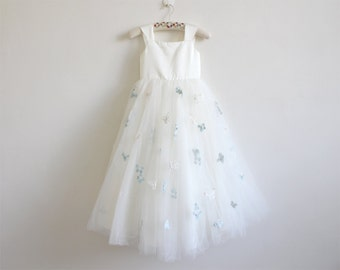 Light Ivory Flower Girl Dress with Butterfly Tulle Ivory Straps Baby Girl Dress Ivory Flower Girl Dress With Butterfly Floor-length