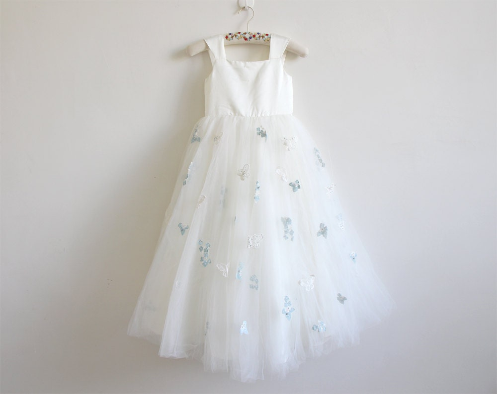 Light Ivory Flower Girl Dress With Butterfly Tulle Ivory