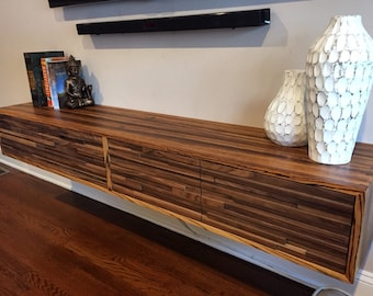 Solid Zebrawood And Walnut Floating Entertainment Center