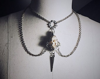 Wire wrapped vertebrae necklace