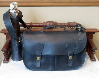Dads Grads Sale Coach Carrier Black Leather Bag With Brass Hardware Style No 9800- Made In United States- EUC