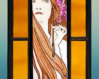 Mucha, girl with pen, Mucha kilnfired stained glass, Mucha suncatcher, Mucha girl, Mucha, Mucha vitrail, Mucha Femme a la Plume, Mucha plume